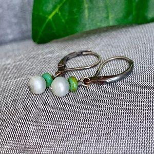 Jewelry - Handmade Green Beaded Earrings